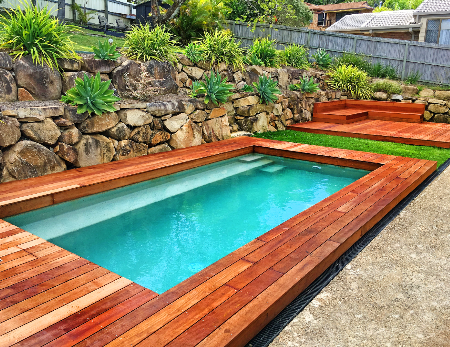 Deck build around pool Palm Beach QLD with L&V Pools